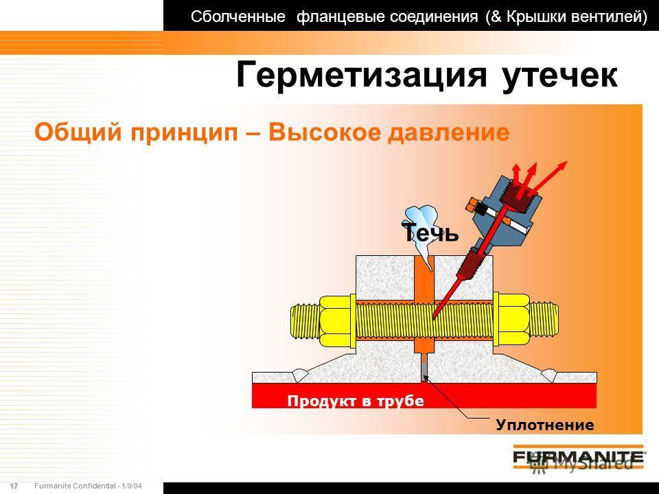 17Furmanite Confidential - 1/9/04 Герметизация утечек Общий принцип – Высокое давление Сболченные фланцевые соединения (& Крышки вентилей) Продукт в трубе Уплотнение Течь