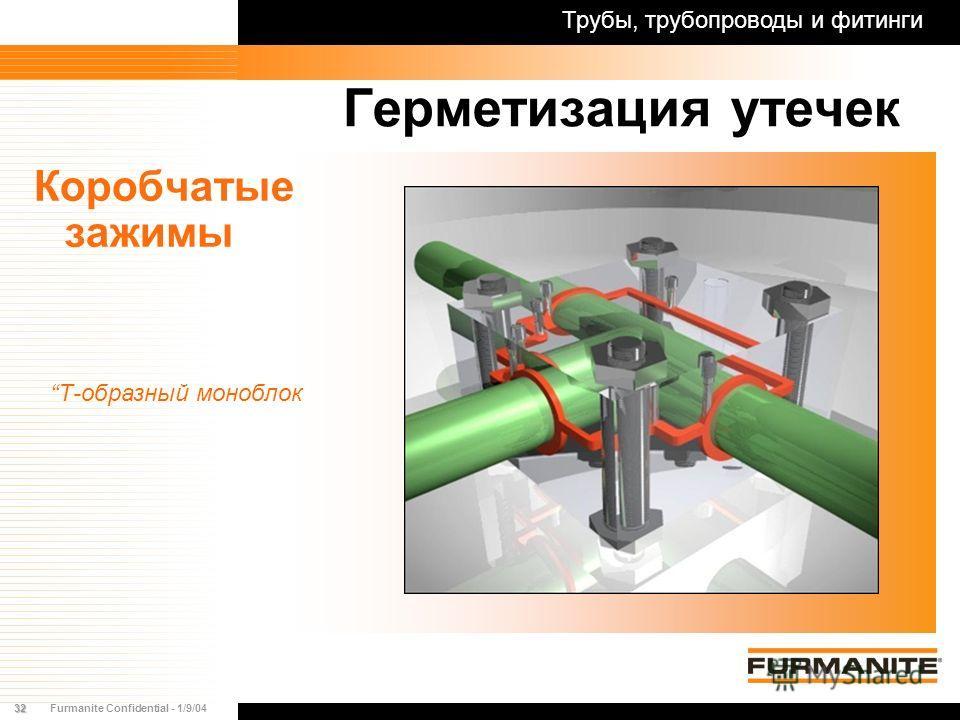32Furmanite Confidential - 1/9/04 Герметизация утечек Коробчатые зажимы Трубы, трубопроводы и фитинги Т-образный моноблок
