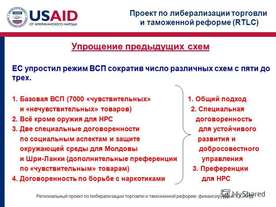 Проект по либерализации торговли и таможенной реформе (RTLC) Региональный проект по либерализации торговли и таможенной реформе, финансируемый ЮСАИД Упрощение предыдущих схем ЕС упростил режим ВСП сократив число различных схем с пяти до трех. 1. Базо