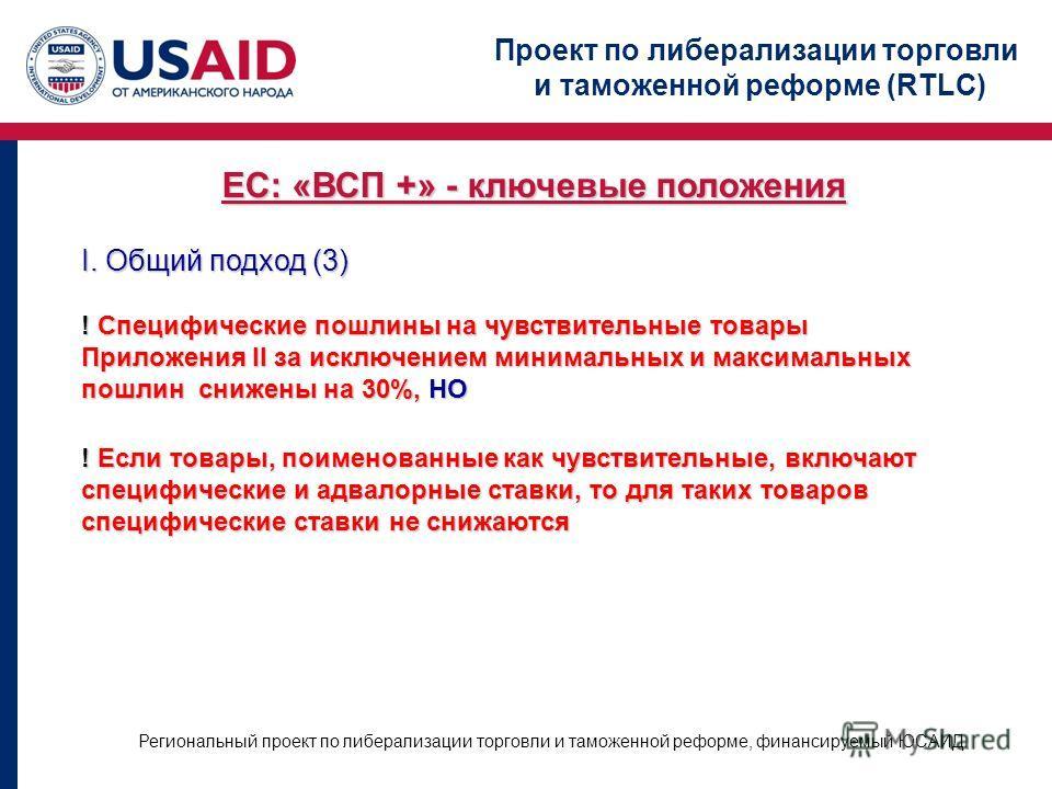 Проект по либерализации торговли и таможенной реформе (RTLC) Региональный проект по либерализации торговли и таможенной реформе, финансируемый ЮСАИД ЕС: «ВСП +» - ключевые положения I. Общий подход (3) ! Специфические пошлины на чувствительные товары