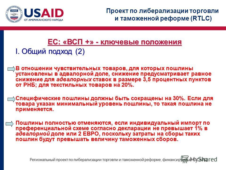 Проект по либерализации торговли и таможенной реформе (RTLC) Региональный проект по либерализации торговли и таможенной реформе, финансируемый ЮСАИД ЕС: «ВСП +» - ключевые положения I. Общий подход (2) В отношении чувствительных товаров, для которых