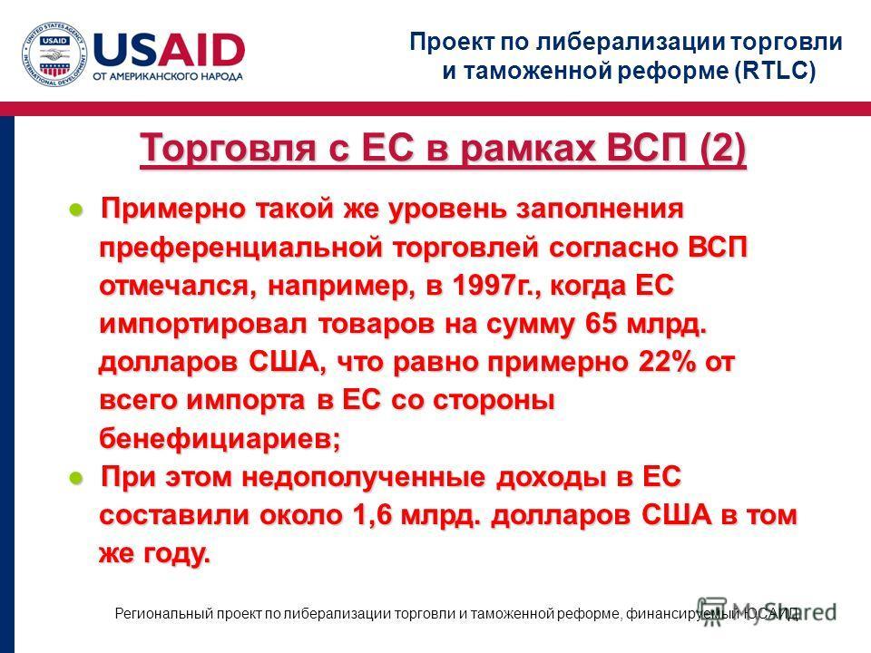Проект по либерализации торговли и таможенной реформе (RTLC) Региональный проект по либерализации торговли и таможенной реформе, финансируемый ЮСАИД Торговля с ЕС в рамках ВСП (2) Примерно такой же уровень заполнения Примерно такой же уровень заполне