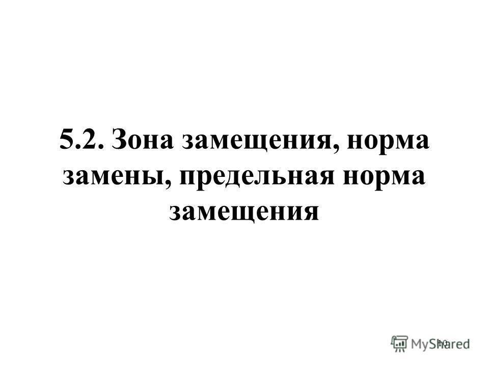 10 5.2. Зона замещения, норма замены, предельная норма замещения