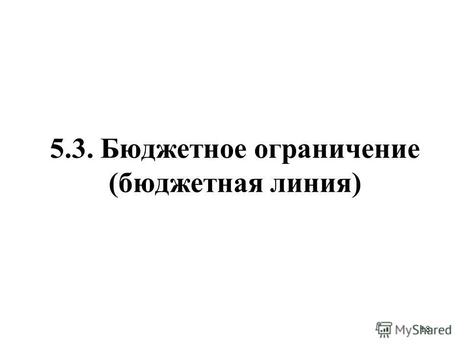 18 5.3. Бюджетное ограничение (бюджетная линия)