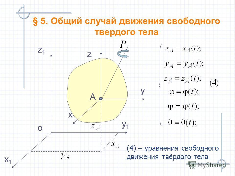 y1y1 z1z1 x1x1 o y z x А § 5. Общий случай движения свободного твердого тела (4) – уравнения свободного движения твёрдого тела