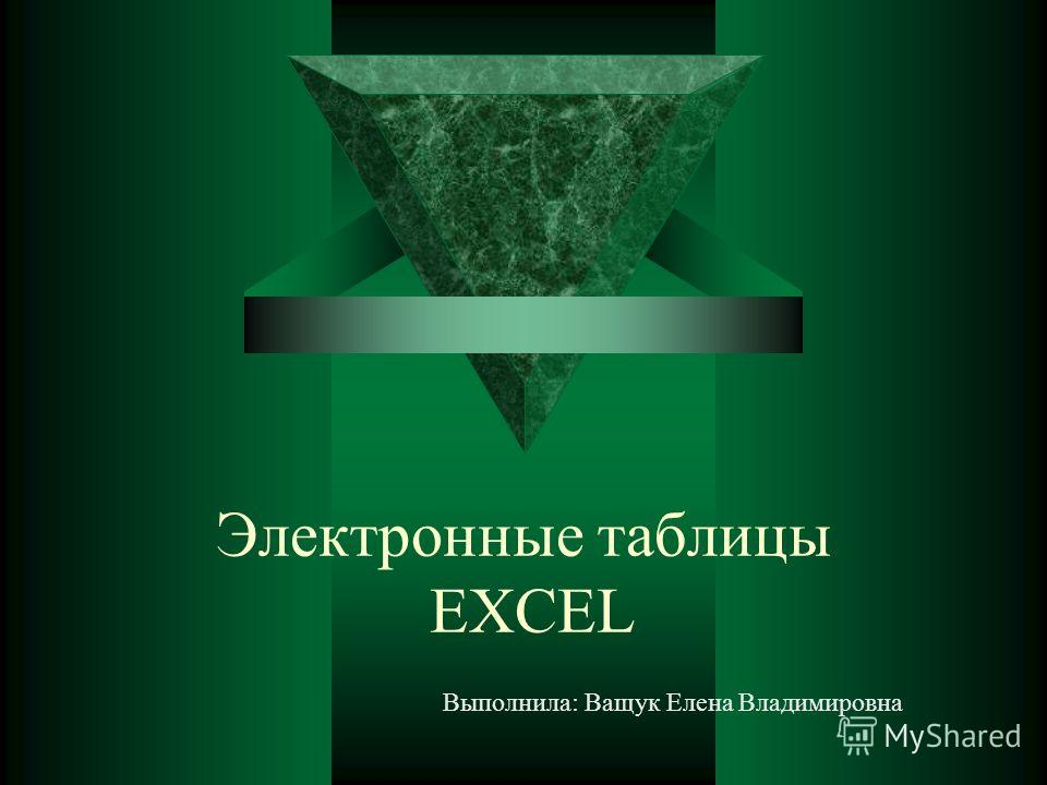 Электронные таблицы EXCEL Выполнила: Ващук Елена Владимировна