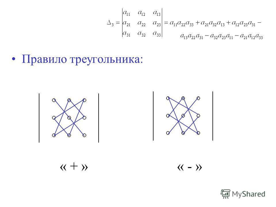 Правило треугольника: « + »« - »