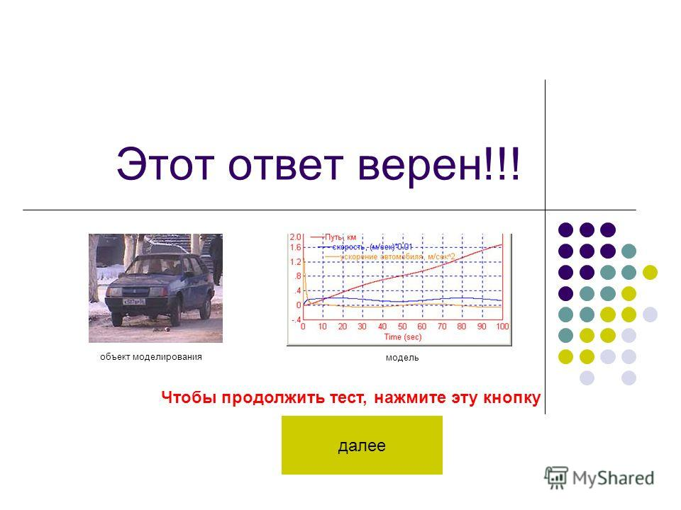 Этот ответ верен!!! Чтобы продолжить тест, нажмите эту кнопку далее объект моделирования модель