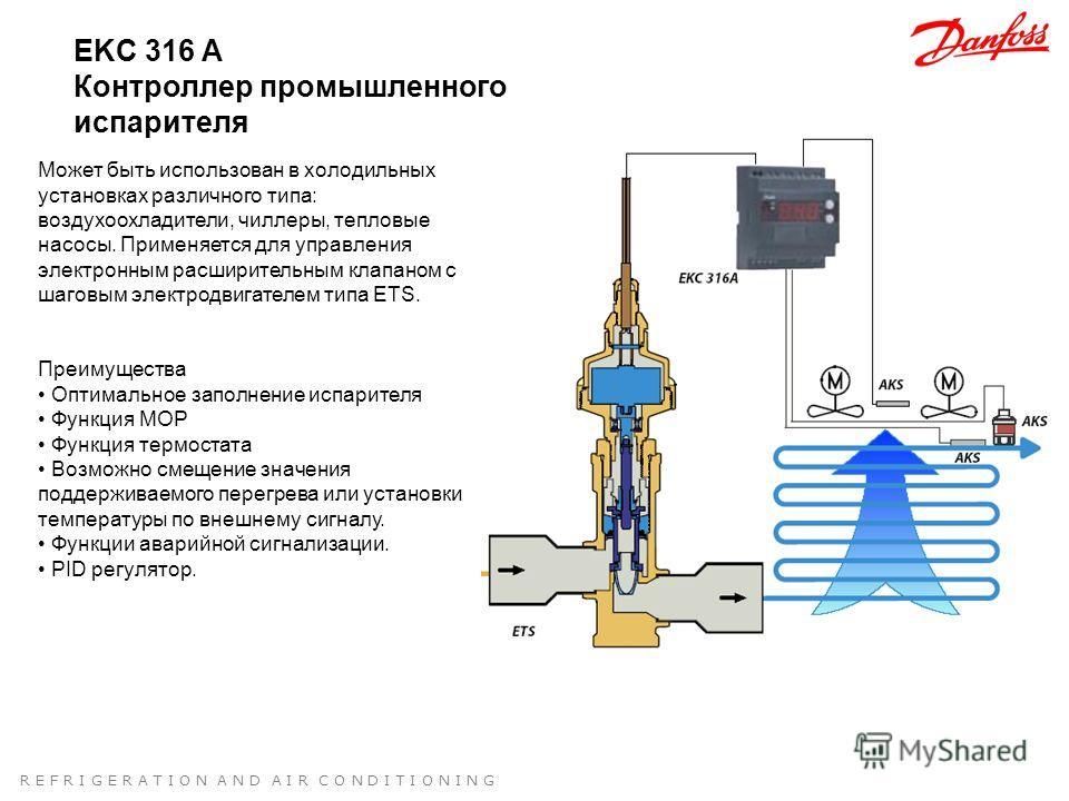 R E F R I G E R A T I O N A N D A I R C O N D I T I O N I N G EKC 316 A Контроллер промышленного испарителя Может быть использован в холодильных установках различного типа: воздухоохладители, чиллеры, тепловые насосы. Применяется для управления элект
