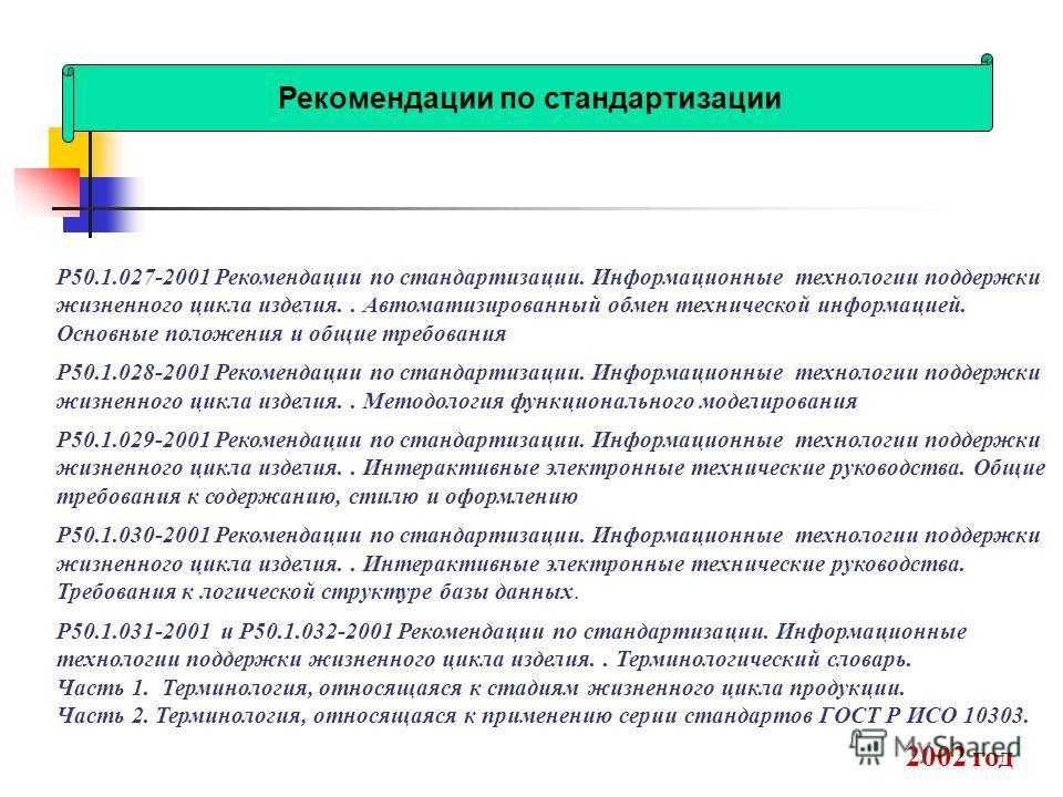 Р50.1.027-2001 Рекомендации по стандартизации. Информационные технологии поддержки жизненного цикла изделия.. Автоматизированный обмен технической информацией. Основные положения и общие требования Р50.1.028-2001 Рекомендации по стандартизации. Инфор