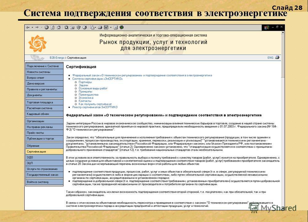 Слайд 28 Система подтверждения соответствия в электроэнергетике