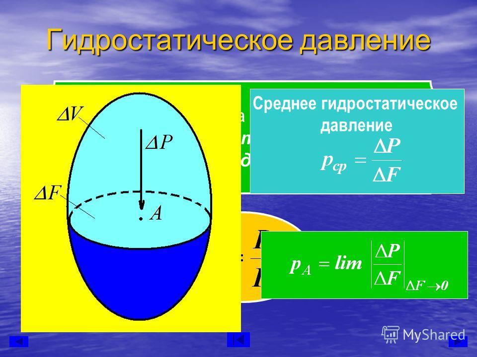 Давление жидкости на единицу поверхности называется гидростатическим давлением или просто давлением. Среднее гидростатическое давление Гидростатическое давление