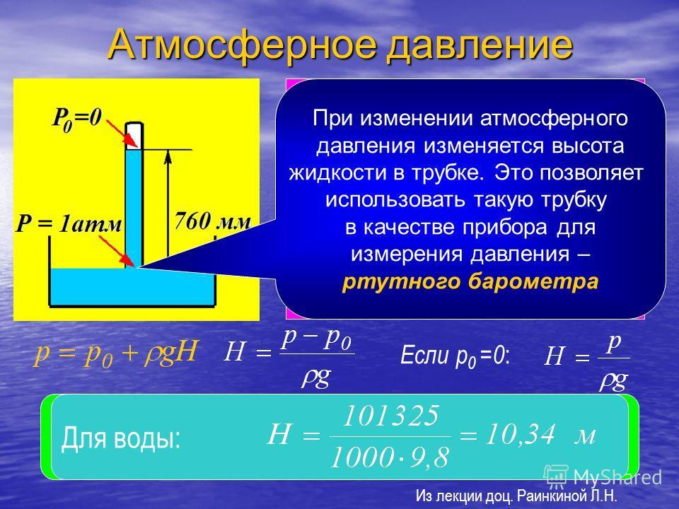 Атмосферное давление Если в жидкую ртуть опустить трубку, в которой создан вакуум, то ртуть под действием давления поднимается в ней на такую высоту, при которой давление столба жидкости станет равным внешнему атмосферному давлению на открытую поверх