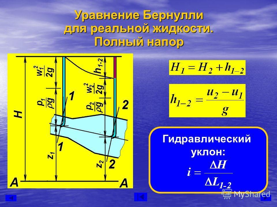 Уравнение Бернулли для реальной жидкости. Полный напор Гидравлический уклон: