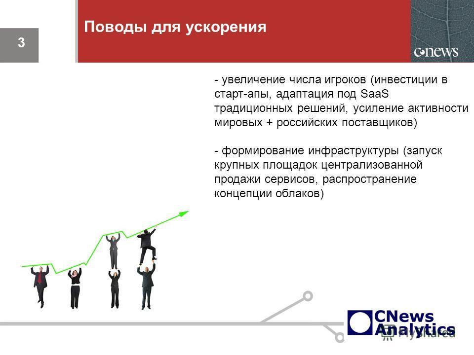 3 Поводы для ускорения 3 - увеличение числа игроков (инвестиции в старт-апы, адаптация под SaaS традиционных решений, усиление активности мировых + российских поставщиков) - формирование инфраструктуры (запуск крупных площадок централизованной продаж