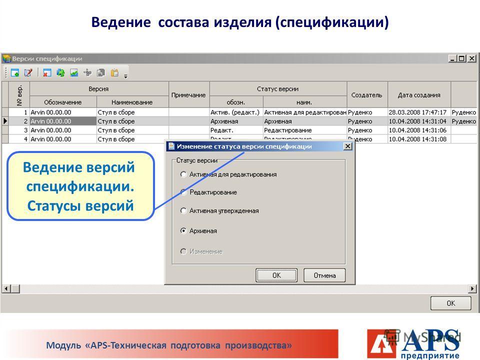 Ведение версий спецификации. Статусы версий Модуль «APS-Техническая подготовка производства» Ведение состава изделия (спецификации)