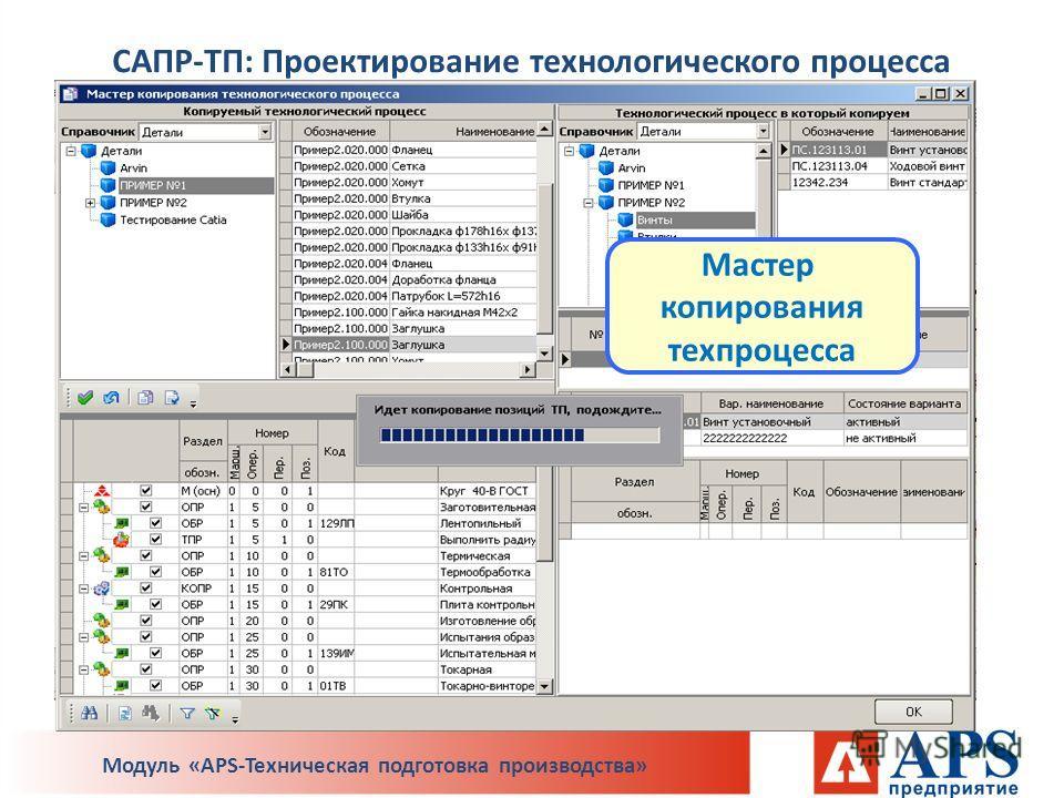 Мастер копирования техпроцесса САПР-ТП: Проектирование технологического процесса Модуль «APS-Техническая подготовка производства»