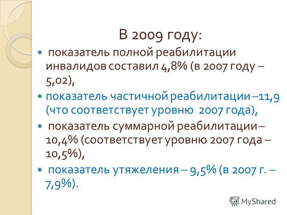 В 2009 году : показатель полной реабилитации инвалидов составил 4,8% ( в 2007 году – 5,02), показатель частичной реабилитации –11,9 ( что соответствует уровню 2007 года ), показатель суммарной реабилитации – 10,4% ( соответствует уровню 2007 года – 1