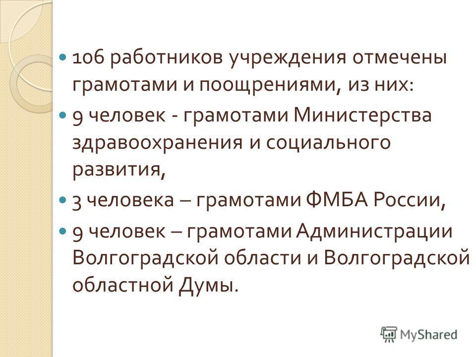 106 работников учреждения отмечены грамотами и поощрениями, из них : 9 человек - грамотами Министерства здравоохранения и социального развития, 3 человека – грамотами ФМБА России, 9 человек – грамотами Администрации Волгоградской области и Волгоградс