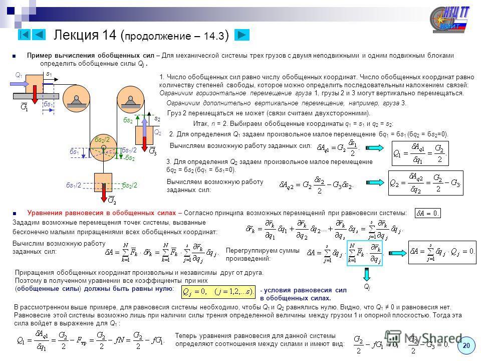 Лекция 14 ( продолжение – 14.3 ) Пример вычисления обобщенных сил – Для механической системы трех грузов с двумя неподвижными и одним подвижным блоками определить обобщенные силы Q j. 20 1. Число обобщенных сил равно числу обобщенных координат. Число
