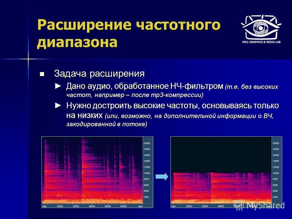 Расширение частотного диапазона Задача расширения Задача расширения Дано аудио, обработанное НЧ-фильтром (т.е. без высоких частот, например – после mp3-компрессии) Дано аудио, обработанное НЧ-фильтром (т.е. без высоких частот, например – после mp3-ко