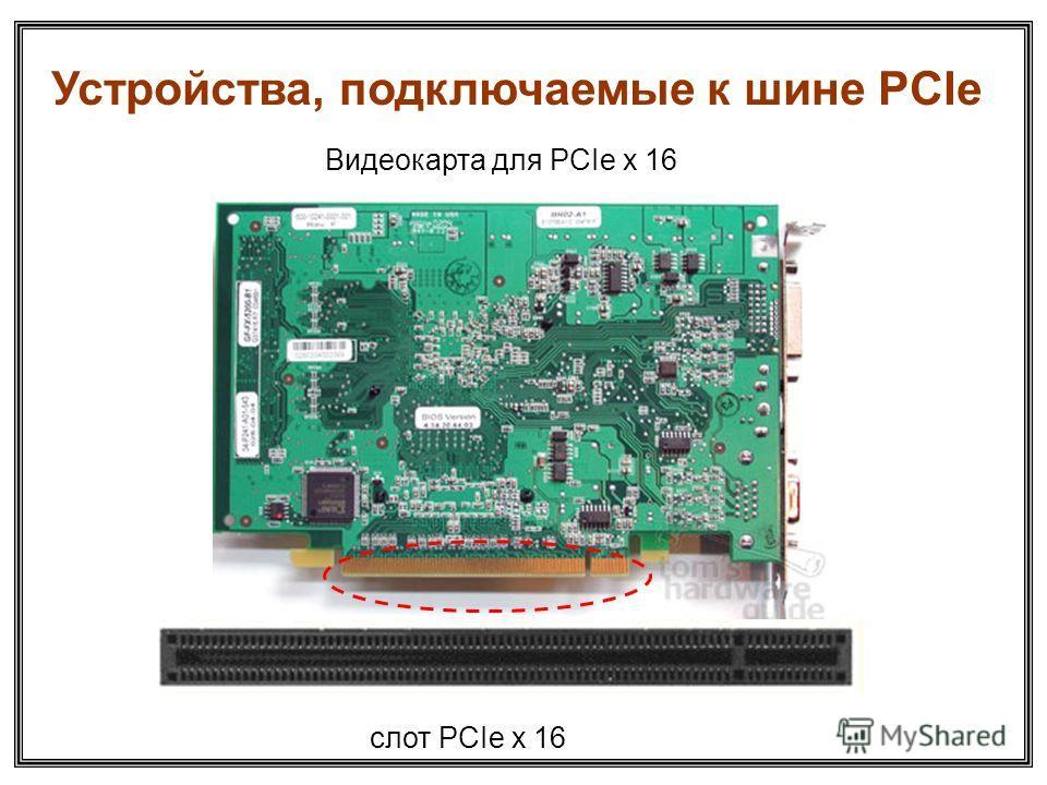 Видеокарта для PCIe x 16 слот PCIe x 16 Устройства, подключаемые к шине PCIе