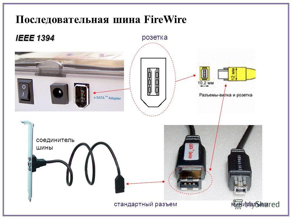 Последовательная шина FireWire IEEE 1394 миниразъемстандартный разъем соединитель шины розетка