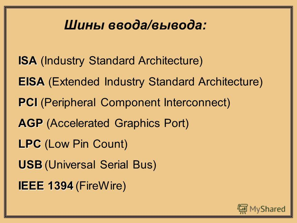 ISA ISA (Industry Standard Architecture) EISA EISA (Extended Industry Standard Architecture) PCI PCI (Peripheral Component Interconnect) AGP AGP (Accelerated Graphics Port) LPC LPC (Low Pin Count) USB USB (Universal Serial Bus) IEEE 1394 IEEE 1394 (F