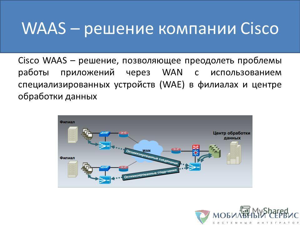 WAAS – решение компании Cisco Cisco WAAS – решение, позволяющее преодолеть проблемы работы приложений через WAN с использованием специализированных устройств (WAE) в филиалах и центре обработки данных