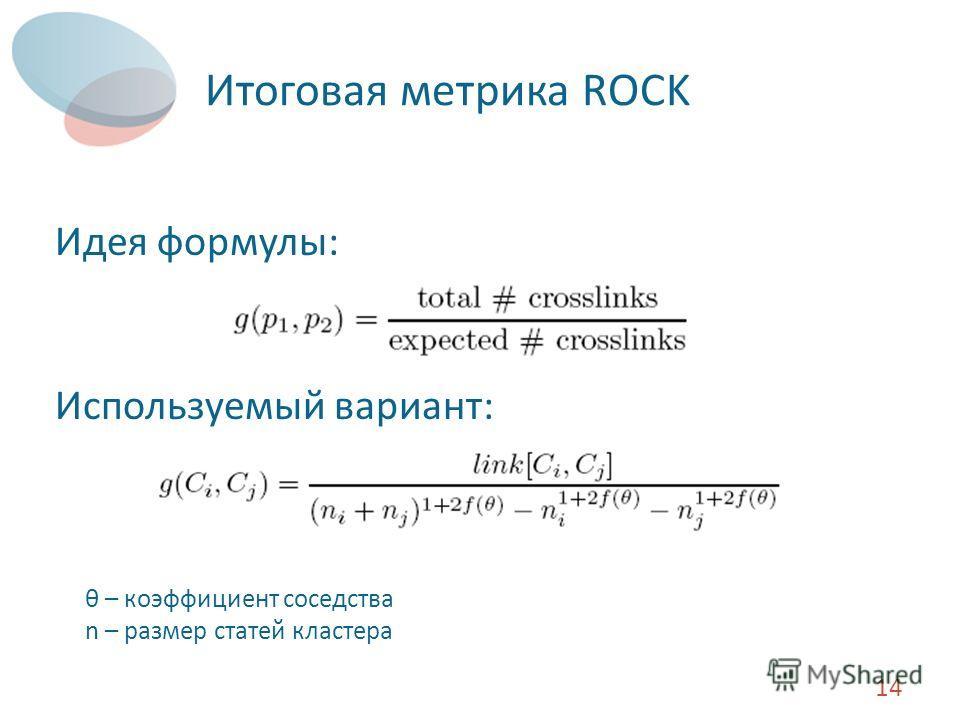 Итоговая метрика ROCK Идея формулы: Используемый вариант: 14 θ – коэффициент соседства n – размер статей кластера