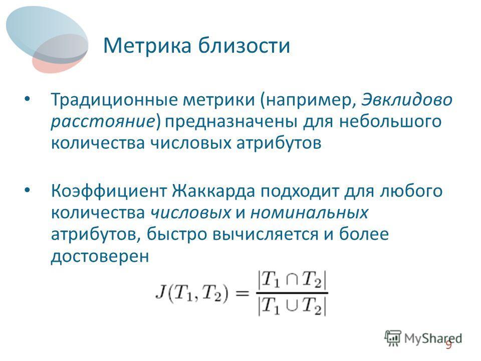 Метрика близости Традиционные метрики (например, Эвклидово расстояние) предназначены для небольшого количества числовых атрибутов Коэффициент Жаккарда подходит для любого количества числовых и номинальных атрибутов, быстро вычисляется и более достове