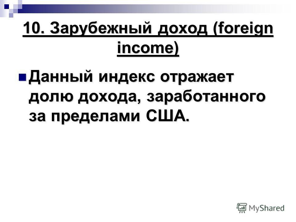 10. Зарубежный доход (foreign income) Данный индекс отражает долю дохода, заработанного за пределами США. Данный индекс отражает долю дохода, заработанного за пределами США.