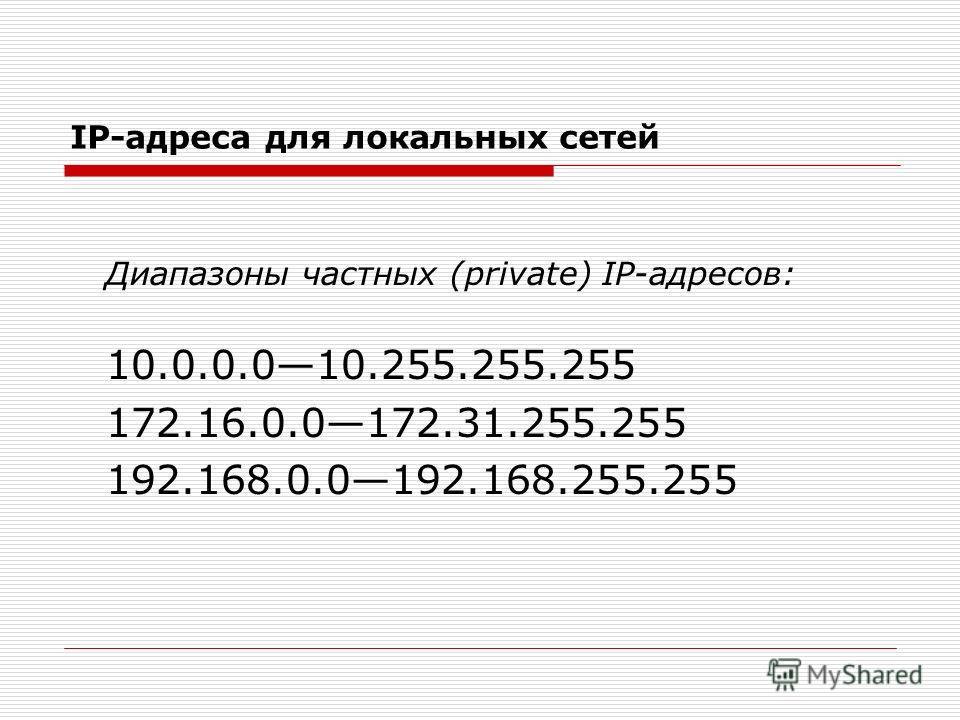 IP-адреса для локальных сетей Диапазоны частных (private) IP-адресов: 10.0.0.010.255.255.255 172.16.0.0172.31.255.255 192.168.0.0192.168.255.255