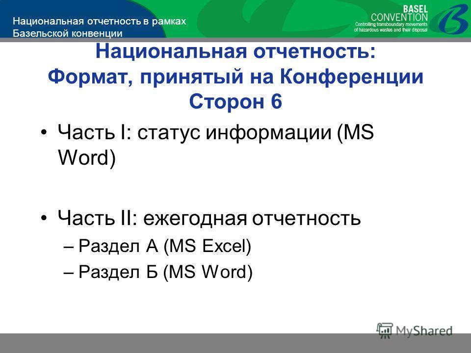 Национальная отчетность в рамках Базельской конвенции Национальная отчетность: Формат, принятый на Конференции Сторон 6 Часть I: статус информации (MS Word) Часть II: ежегодная отчетность –Раздел А (MS Excel) –Раздел Б (MS Word)