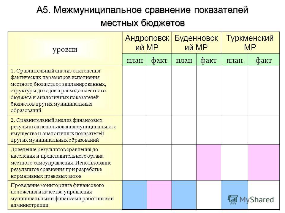 А5. Межмуниципальное сравнение показателей местных бюджетов уровни Андроповск ий МР Буденновск ий МР Туркменский МР планфактпланфактпланфакт 1. Сравнительный анализ отклонения фактических параметров исполнения местного бюджета от запланированных, стр