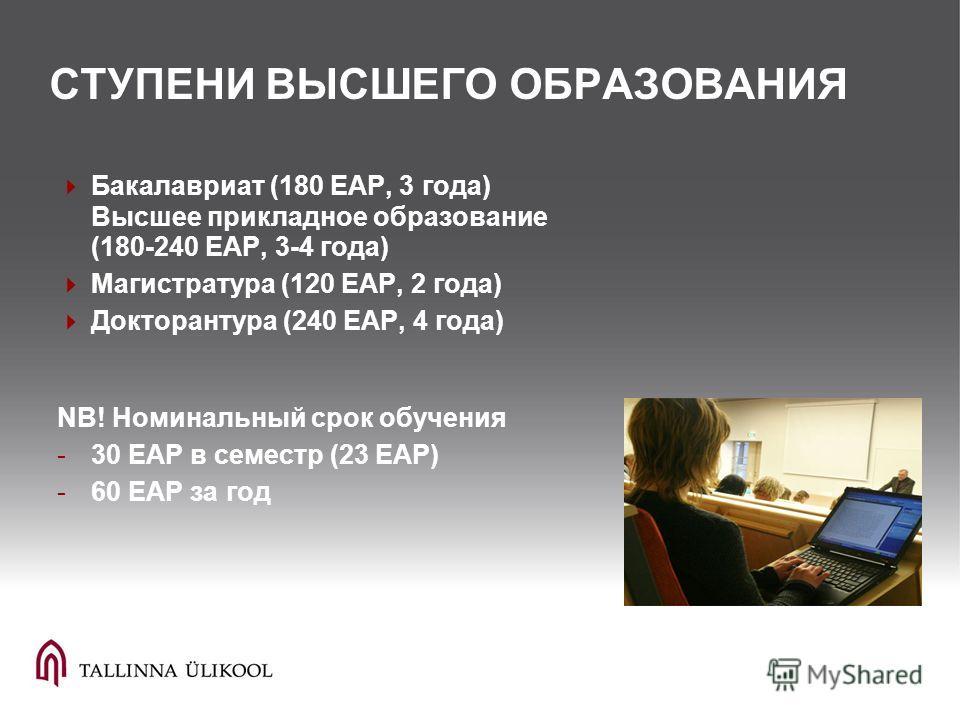 СТУПЕНИ ВЫСШЕГО ОБРАЗОВАНИЯ Бакалавриат (180 EAP, 3 года) Высшее прикладное образование (180-240 EAP, 3-4 года) Магистратура (120 EAP, 2 года) Докторантура (240 EAP, 4 года) NB! Номинальный срок обучения -30 EAP в семестр (23 EAP) -60 EAP за год