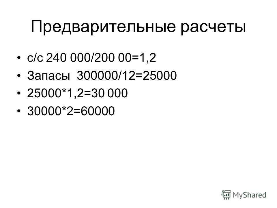 Предварительные расчеты с/с 240 000/200 00=1,2 Запасы 300000/12=25000 25000*1,2=30 000 30000*2=60000