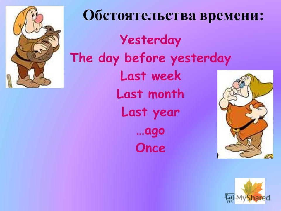 Обстоятельства времени: Yesterday The day before yesterday Last week Last month Last year …ago Once