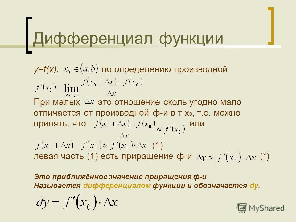 Дифференциал функции y=f(x), по определению производной При малых это отношение сколь угодно мало отличается от производной ф-и в т х 0, т.е. можно принять, что или (1) левая часть (1) есть приращение ф-и (*) Это приближённое значение приращения ф-и