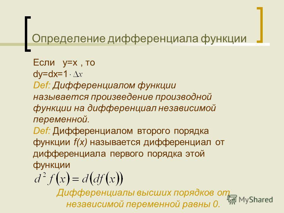 Определение дифференциала функции Если y=x, то dy=dx=1 Def: Дифференциалом функции называется произведение производной функции на дифференциал независимой переменной. Def: Дифференциалом второго порядка функции f(x) называется дифференциал от диффере