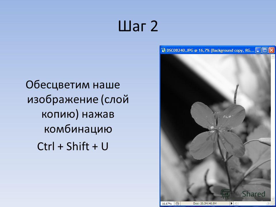 Шаг 2 Обесцветим наше изображение (слой копию) нажав комбинацию Ctrl + Shift + U