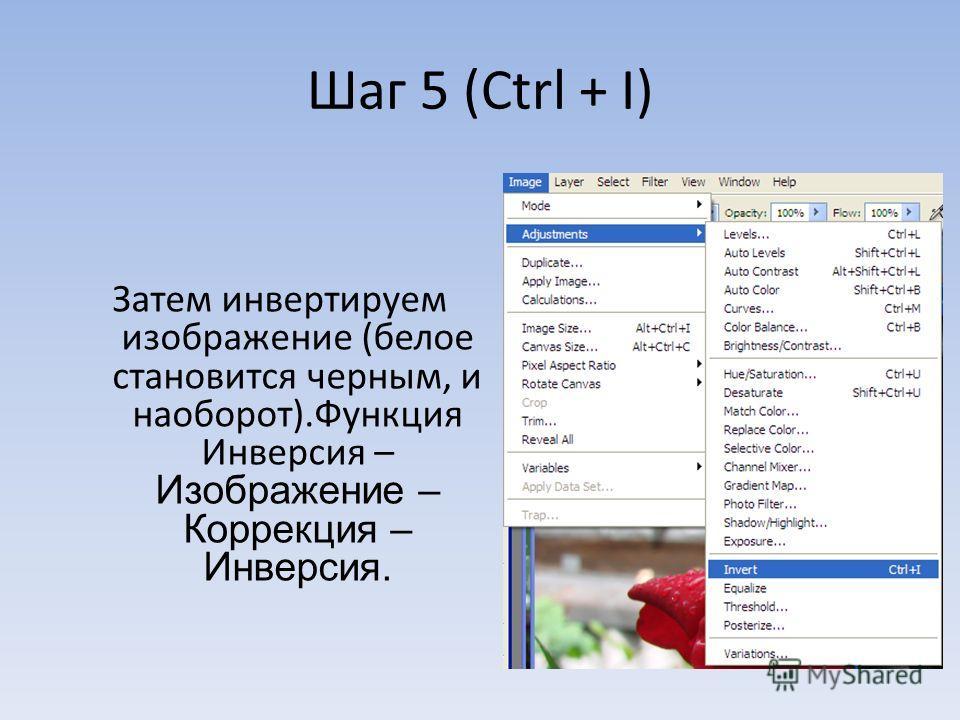 Шаг 5 (Ctrl + I) Затем инвертируем изображение (белое становится черным, и наоборот).Функция Инверсия – Изображение – Коррекция – Инверсия.