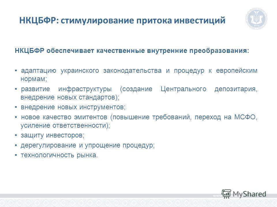 НКЦБФР: стимулирование притока инвестиций НКЦБФР обеспечивает качественные внутренние преобразования: адаптацию украинского законодательства и процедур к европейским нормам; развитие инфраструктуры (создание Центрального депозитария, внедрение новых