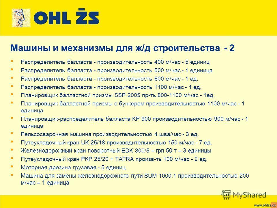 Распределитель балласта - производительность 400 м/час - 5 единиц Распределитель балласта - производительность 500 м/час - 1 единица Распределитель балласта - производительность 600 м/час - 1 ед. Распределитель балласта - производительность 1100 м/ча