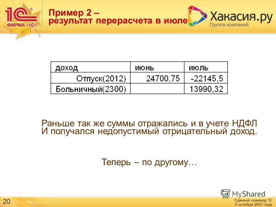 Единый семинар 1С 9 октября 2013 года 20 Раньше так же суммы отражались и в учете НДФЛ И получался недопустимый отрицательный доход. Теперь – по другому… Пример 2 – результат перерасчета в июле