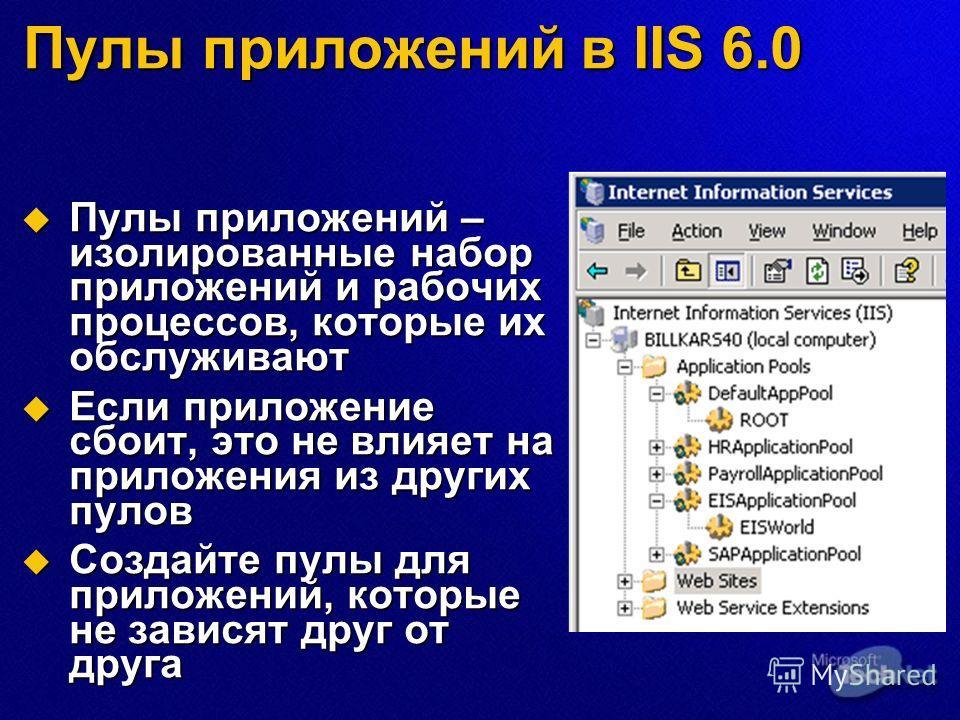 Пулы приложений в IIS 6.0 Пулы приложений – изолированные набор приложений и рабочих процессов, которые их обслуживают Пулы приложений – изолированные набор приложений и рабочих процессов, которые их обслуживают Если приложение сбоит, это не влияет н