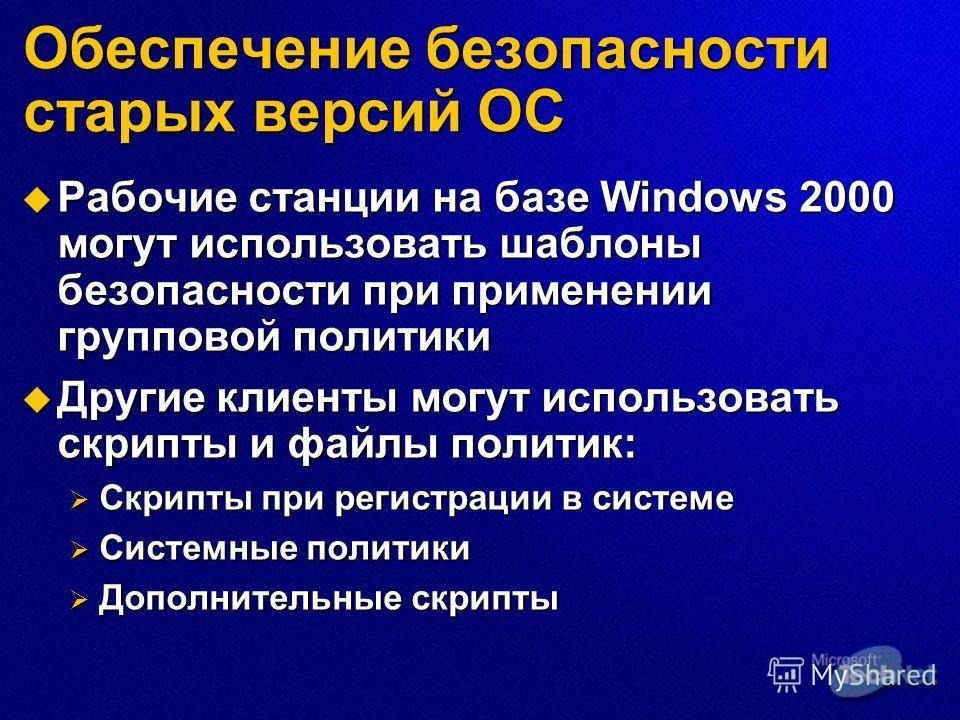 Обеспечение безопасности старых версий ОС Рабочие станции на базе Windows 2000 могут использовать шаблоны безопасности при применении групповой политики Рабочие станции на базе Windows 2000 могут использовать шаблоны безопасности при применении групп