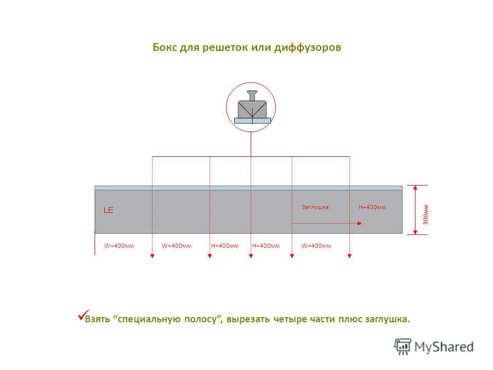 Бокс для решеток или диффузоров Взять специальную полосу, вырезать четыре части плюс заглушка. W+400мм H+400мм W+400мм H+400мм Заглушка 300мм