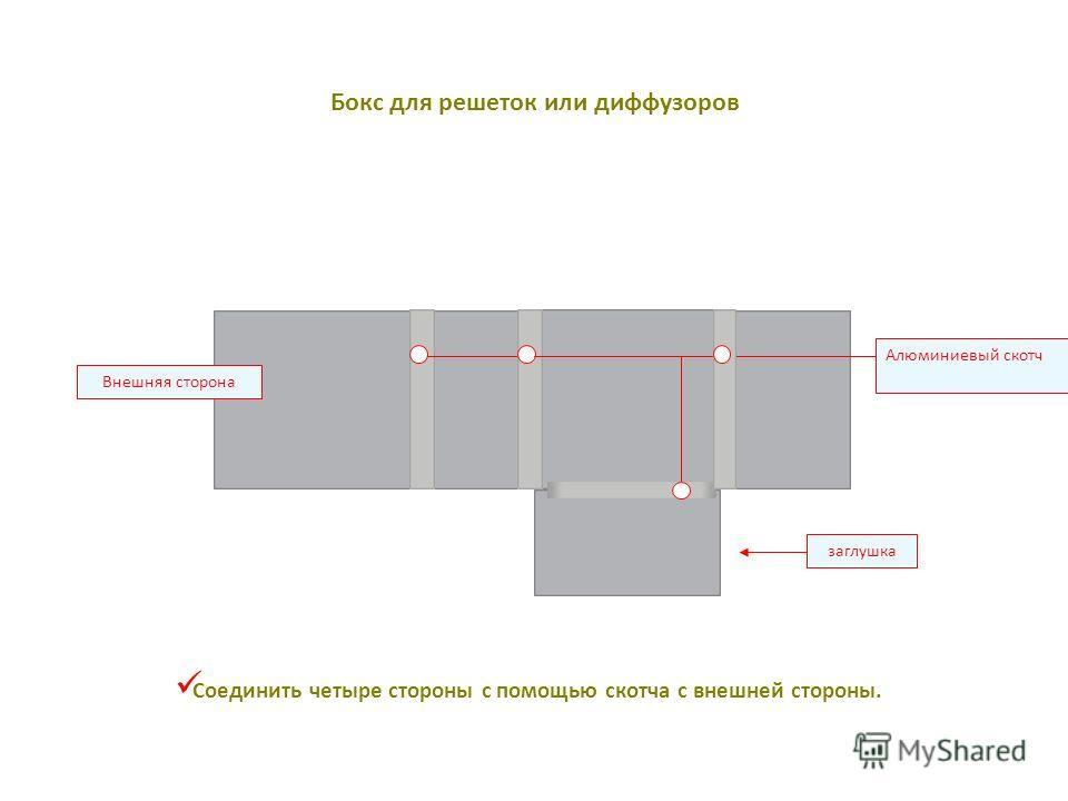 заглушка Алюминиевый скотч Внешняя сторона Соединить четыре стороны с помощью скотча с внешней стороны. Бокс для решеток или диффузоров