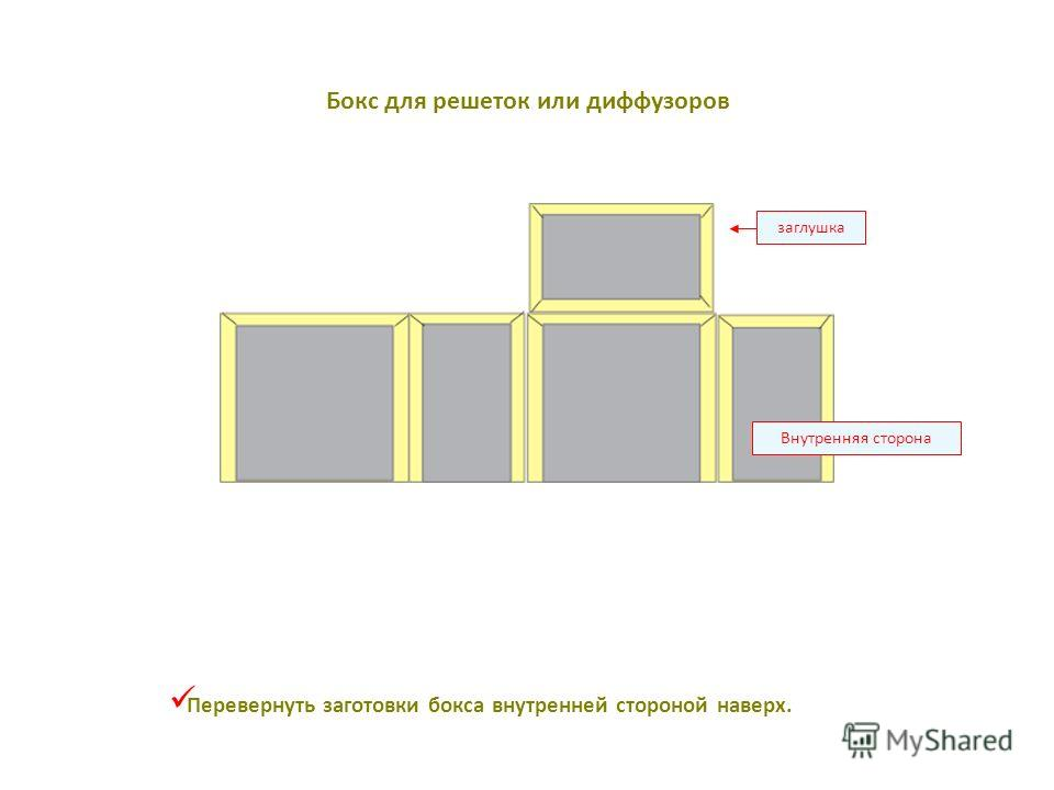 Внутренняя сторона заглушка Перевернуть заготовки бокса внутренней стороной наверх. Бокс для решеток или диффузоров